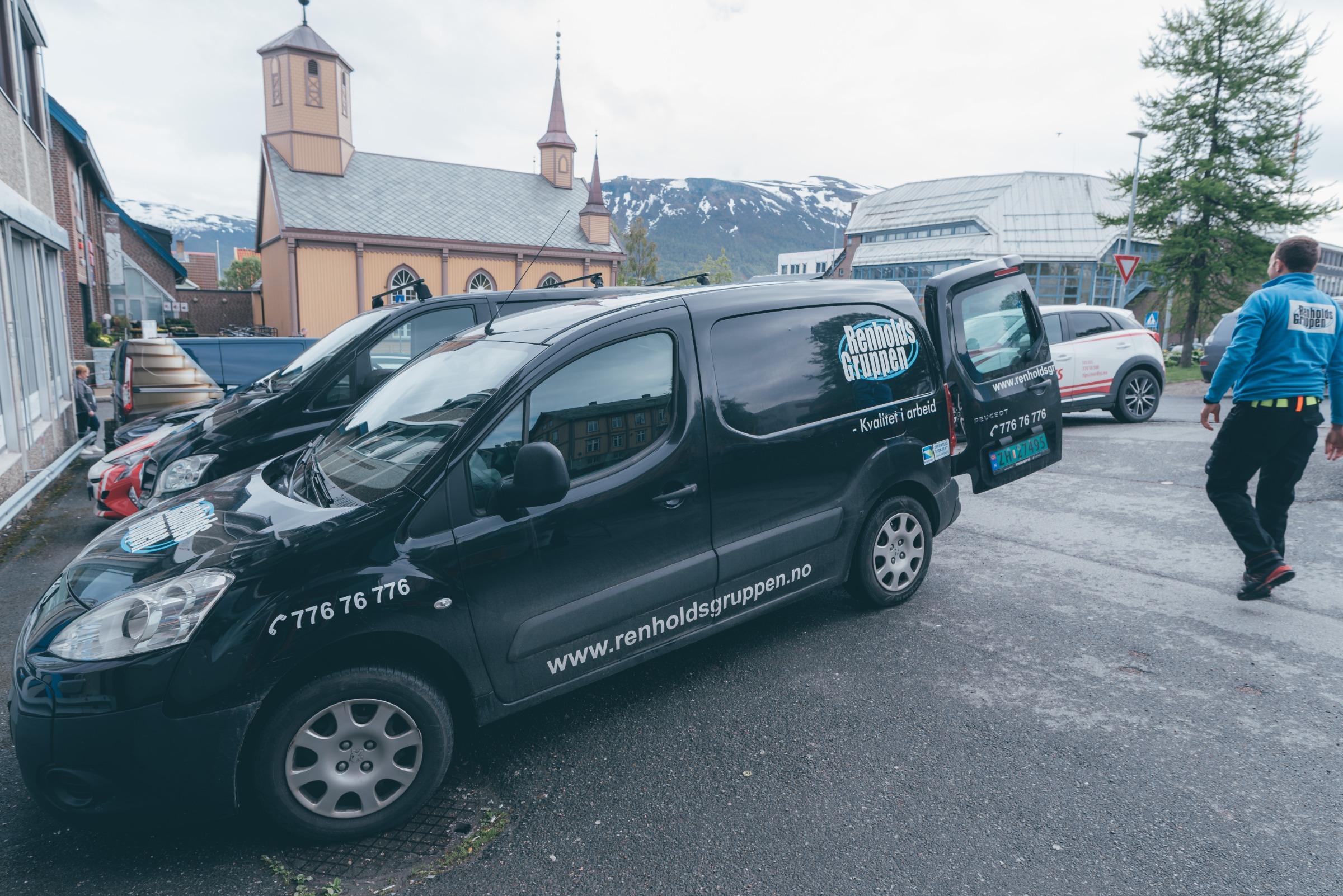 Renholdsgruppen bil i Tromsø sentrum
